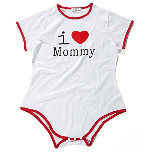 Littleforbig Adult Baby Onesie Diaper Lover (ABDL) Snap Crotch Romper Onesie Pajamas – I Love Mommy Pattern
